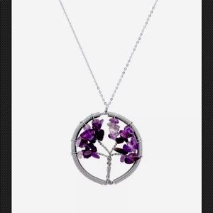 Amethyst & 18K Gold-Plated Tree of Life Pendant